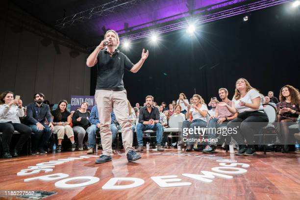 Pablo Iglesias general secretary of Podemos attends a rally in Palexco A Coruña on November 3 2019 in A Coruna Spain