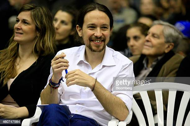 Pablo Iglesias, secretary general of the Podemos party, attends a party conference in Barcelona, Spain on Sunday, Dec. 21, 2014. Podemos, we can in...