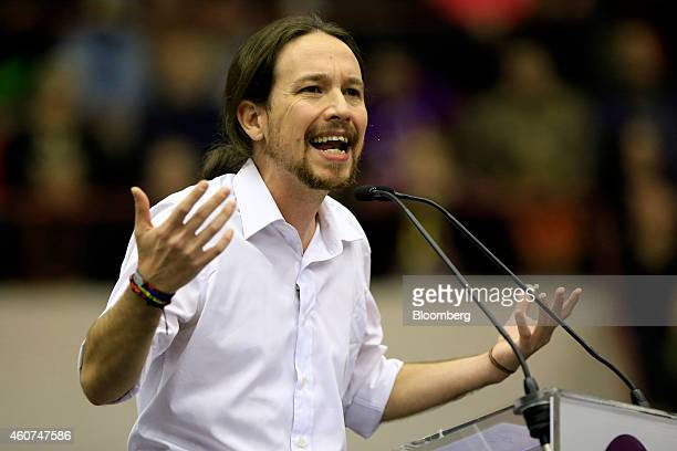 Pablo Iglesias, secretary general of the Podemos party, gestures as he speaks during a party conference in Barcelona, Spain on Sunday, Dec. 21, 2014....