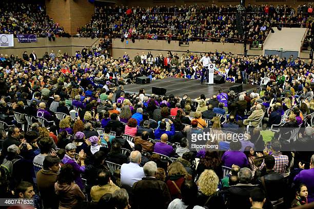 Pablo Iglesias, secretary general of the Podemos party, speaks during a party conference in Barcelona, Spain on Sunday, Dec. 21, 2014. Podemos, we...