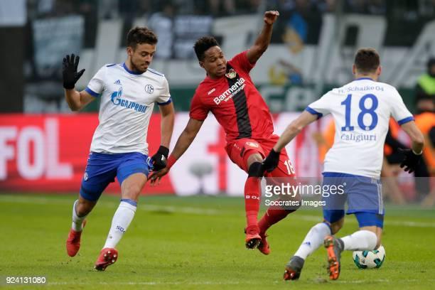 Pablo Insua of Schalke 04 Borges Wendell of Bayer Leverkusen during the German Bundesliga match between Bayer Leverkusen v Schalke 04 at the BayArena...