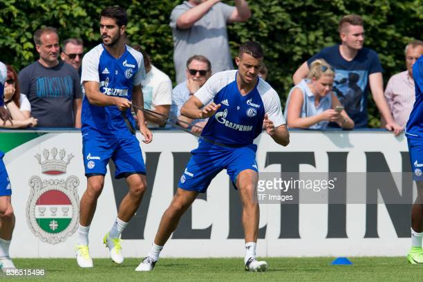 Pablo Insua of Schalke and Franco Di Santo of Schalke during a training session at the FC Schalke 04 Training center on July 5 2017 in Gelsenkirchen...
