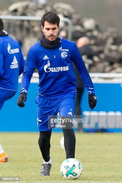 Pablo Insua of Schalke controls the ball during a training session at the FC Schalke 04 Training center on March 14 2018 in Gelsenkirchen Germany