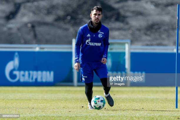 Pablo Insua of Schalke controls the ball during a training session at the FC Schalke 04 Training center on March 26 2018 in Gelsenkirchen Germany