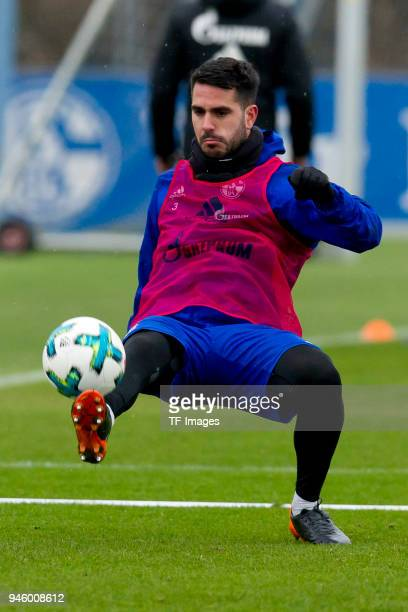 Pablo Insua of Schalke controls the ball during a training session at the FC Schalke 04 Training center on March 29 2018 in Gelsenkirchen Germany
