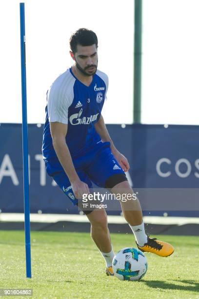 Pablo Insua of Schalke controls the ball during the FC Schalke 04 training camp at Hotel Melia Villaitana on January 04 2018 in Benidorm Spain
