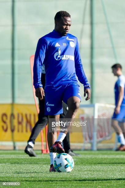 Pablo Insua of Schalke controls the ball during the FC Schalke 04 training camp at Hotel Melia Villaitana on January 05 2018 in Benidorm Spain