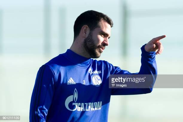 Pablo Insua of Schalke gestures during the FC Schalke 04 training camp at Hotel Melia Villaitana on January 04 2018 in Benidorm Spain