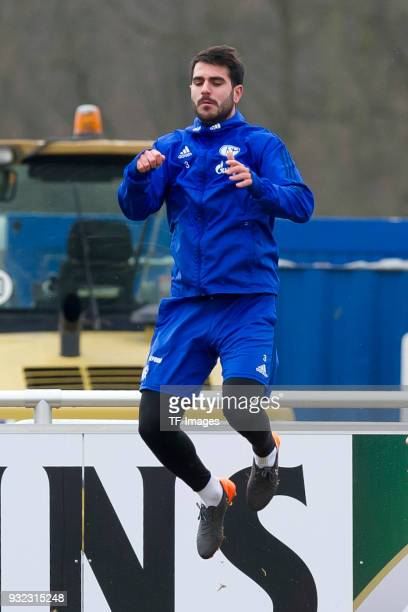 Pablo Insua of Schalke jumps during a training session at the FC Schalke 04 Training center on March 07 2018 in Gelsenkirchen Germany