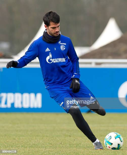 Pablo Insua of Schalke kicks the ball during a training session at the FC Schalke 04 Training center on March 14 2018 in Gelsenkirchen Germany