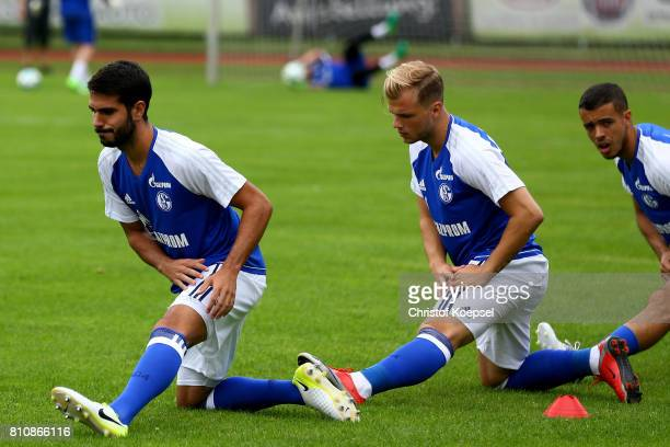 Pablo Insua of Schalke strecthes prior to the preseason friendly match between SpVgg Erkenschwick and FC Schalke 04 at Stimberg Stadium on July 8...