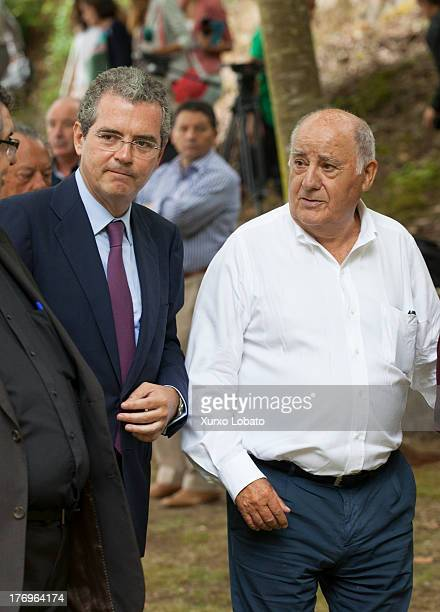 Pablo Isla president of Inditex and Amancio Ortega owner of Zara attend Rosalia Mera's funeral on August 17 2013 in Oleiros Spain