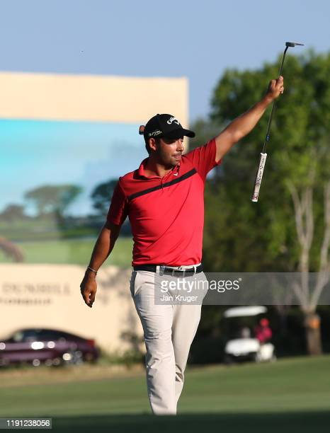 Pablo Larrazabal of Spain celebrates a birdie and victory on the 18th green during Day Four of the Alfred Dunhill Championship at Leopard Creek...