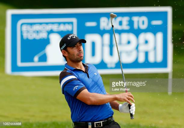 Pablo Larrazabal of Spain chips onto the 16th green during day one of the Andalucia Valderrama Masters at Real Club Valderrama on October 18 2018 in...