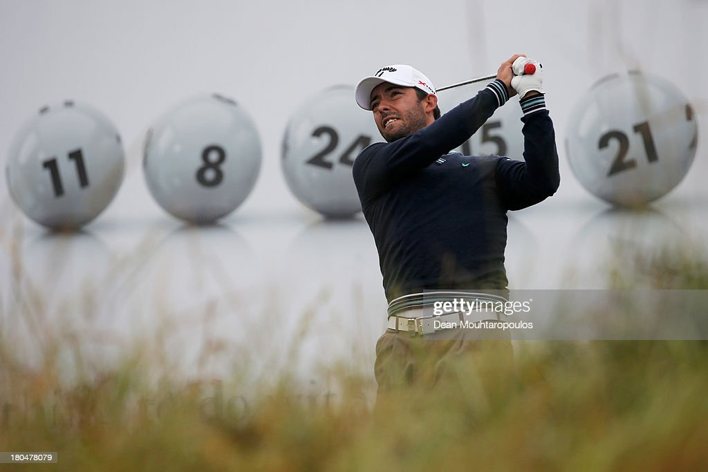 Pablo Larrazabal of Spain hits his tee shot on the 15th hole during Day 2 of the KLM Open at Kennemer G & CC on September 13, 2013 in Zandvoort, Netherlands.