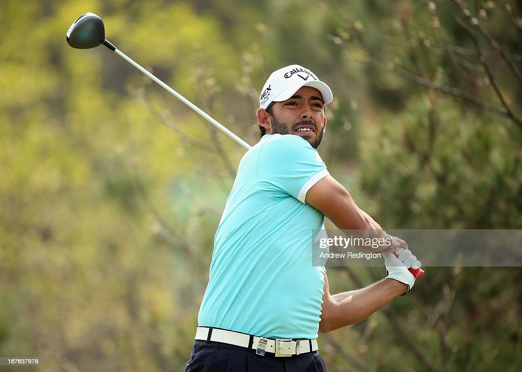 Pablo Larrazabal of Spain hits his tee-shot on the sixth hole during the third round of the Ballantine's Championship at Blackstone Golf Club on April 27, 2013 in Icheon, South Korea.