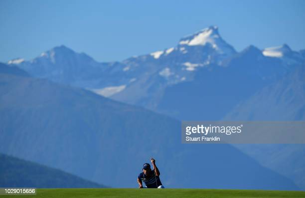 Pablo Larrazabal of Spain lines up a putt during the third round of The Omega European Masters at CranssurSierre Golf Club on September 8 2018 in...