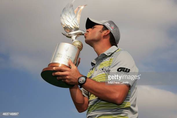 Pablo Larrazabal of Spain pictured after winning the Abu Dhabi HSBC Golf Championship at Abu Dhabi Golf Club on January 19 2014 in Abu Dhabi United...