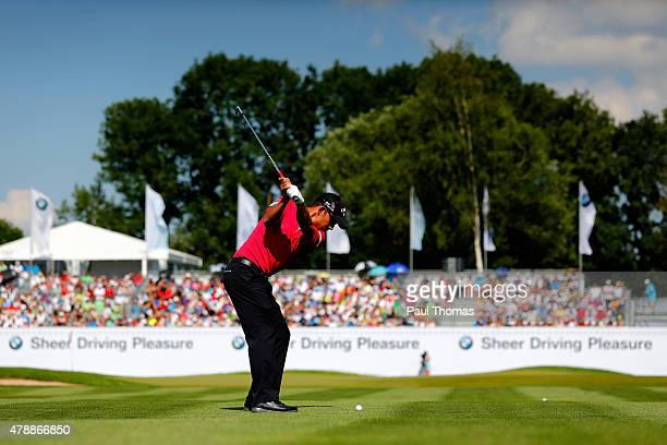 Pablo Larrazabal of Spain plays a shot on the 18th hole during the BMW International Open day four at the Eichenried Golf Club on June 28 2015 in...