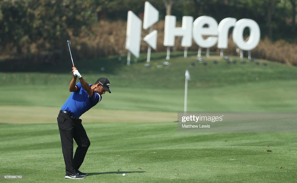 Pablo Larrazabal of Spain plays his second shot from the 6th fairway during day two of the Hero Indian Open at Dlf Golf and Country Club on March 9, 2018 in New Delhi, India.