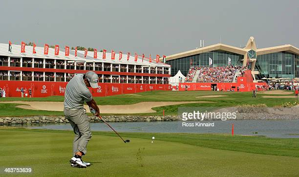 Pablo Larrazabal of Spain plays his second shot to the parf five 18th hole during the final round of the Abu Dhabi HSBC Golf Championship at the Abu...