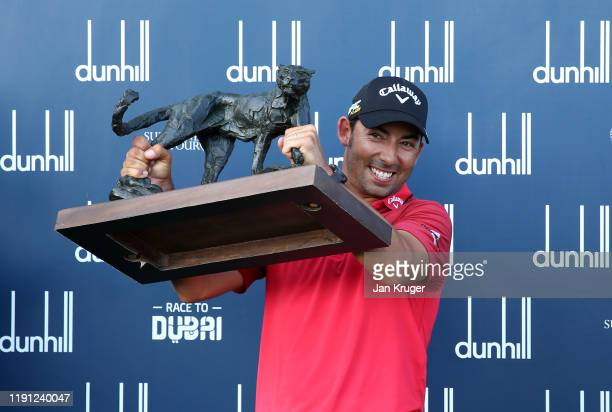 Pablo Larrazabal of Spain poses for a photo with the Alfred Dunhill Championship Trophy after Day Four of the Alfred Dunhill Championship at Leopard...
