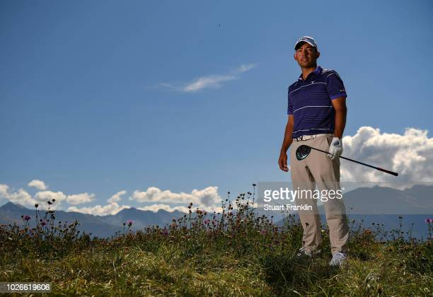 Pablo Larrazabal of Spain poses for a picture during practice prior to the start of Omega European Masters at CranssurSierre Golf Club on September 4...