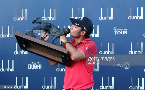 Pablo Larrazabal of Spain poses with the Alfred Dunhill Championship Trophy after Day Four of the Alfred Dunhill Championship at Leopard Creek...