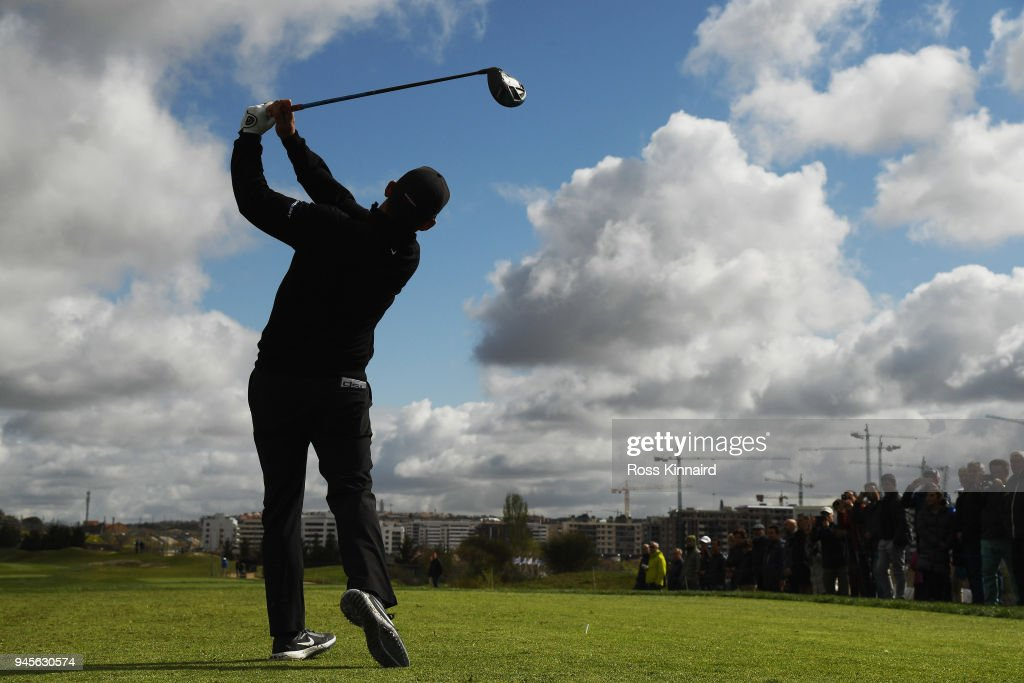Pablo Larrazabal of Spain takes his shot off the 1st tee during day two of the Open de Espana at Centro Nacional de Golf on April 13, 2018 in Madrid, Spain.