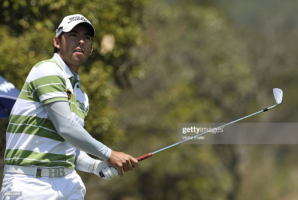 Pablo Larrazabal of Spain tees off on the 14th tee during the Round Two of the Ballantine's Championship at Pinx Golf Club on April 24, 2010 in Jeju island, South Korea.