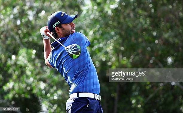 Pablo Larrazabal of Spain tees off on the 16th hole during the ProAm ahead of the Abu Dhabi HSBC Championship at Abu Dhabi Golf Club on January 18...