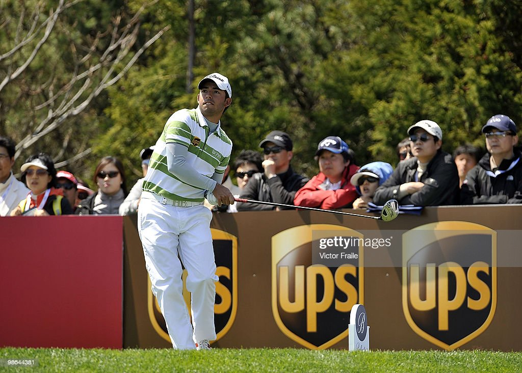 Pablo Larrazabal of Spain tees off on the 16th hole during the Round Two of the Ballantine's Championship at Pinx Golf Club on April 24, 2010 in Jeju island, South Korea.