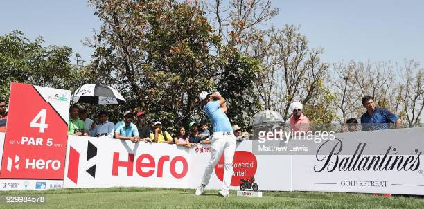 Pablo Larrazabal of Spain tees off on the 4th hole during day three of the Hero Indian Open at Dlf Golf and Country Club on March 10 2018 in New...