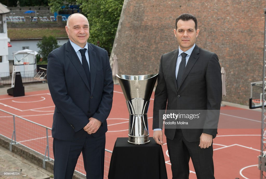 Pablo Laso, Head Coach of Real Madrid and Dimitris Itoudis, #Head Coach of CSKA Moscow during the 2018 Turkish Airlines EuroLeague F4 Photo Opportunity at Kalemegdan Fortress and Park on May 17, 2018 in Belgrade, Serbia.