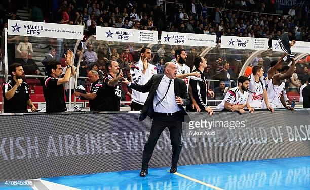 Pablo Laso, Head Coach of Real Madrid celebrates victory during the 2014-2015 Turkish Airlines Euroleague Basketball Play Off Game 4 between Anadolu...