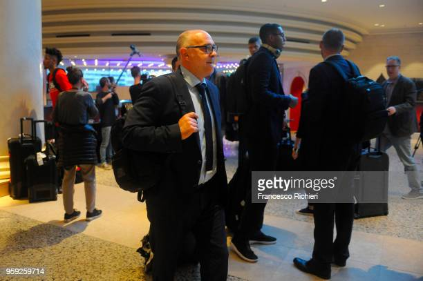 Pablo Laso Head Coach of Real Madrid during the Real Madrid arrival to participate of 2018 Turkish Airlines EuroLeague F4 at Hyatt Regency Hotel on...