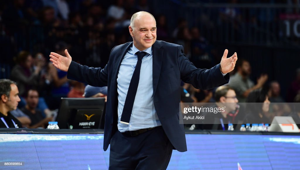 Pablo Laso, Head Coach of Real Madrid in action during the 2017/2018 Turkish Airlines EuroLeague Regular Season Round 1 game between Anadolu Efes Istanbul v Real Madrid at Sinan Erdem Dome on October 12, 2017 in Istanbul, Turkey.