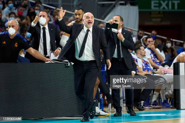 Pablo Laso, Head Coach of Real Madrid of Real Madrid reacts during the Turkish Airlines EuroLeague Regular Season Round 4 match between Real Madrid...