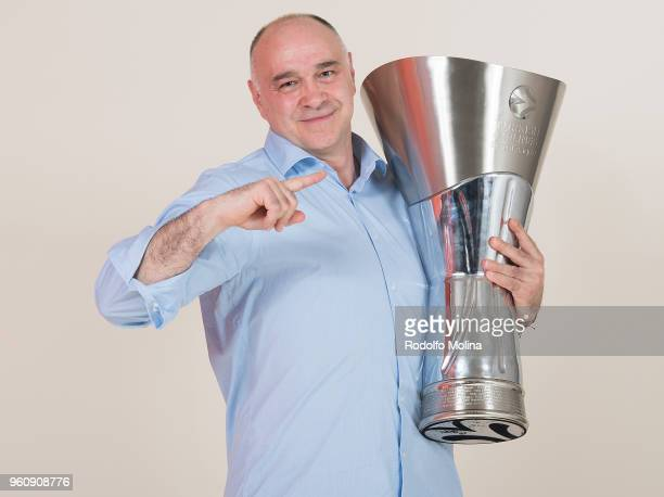 Pablo Laso Head Coach of Real Madrid poses during 2018 Turkish Airlines EuroLeague F4 Champion Photo Session with Trophy at Stark Arena on May 20...