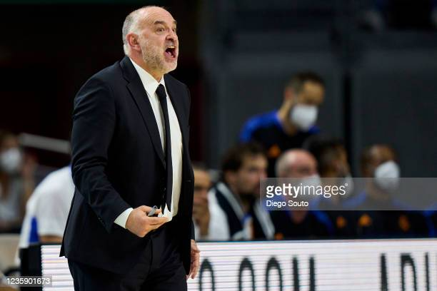 Pablo Laso, Head Coach of Real Madrid reacts during the Turkish Airlines EuroLeague Regular Season Round 4 match between Real Madrid and...