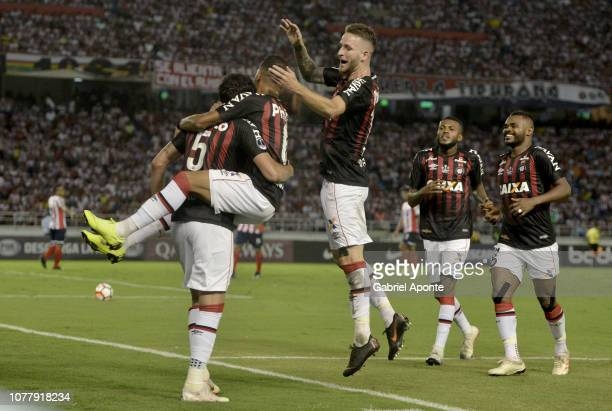 Pablo, Leo Pereira, players of Paranaense celebrate after scoring the first goal to Junior during the first leg of the final of Copa Sudamericana...