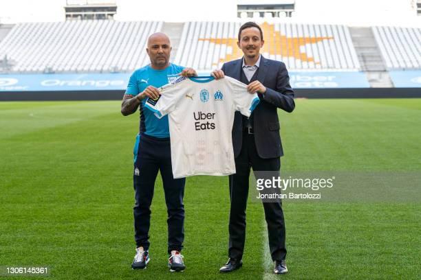 Pablo Longoria presents new coach Jorge Sampaoli during an Olympique de Marseille press conference at Centre Robert-Louis Dreyfus on March 09, 2021...