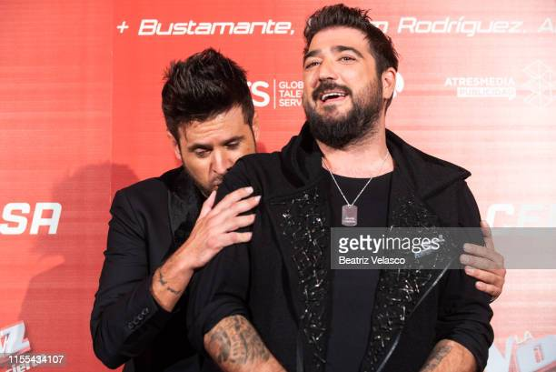 Pablo Lopez and Antonio Orozco attends 'La Voz' presentation at Wizink Center on June 12 2019 in Madrid Spain