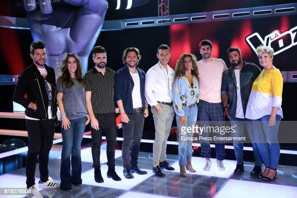 Pablo Lopez Malu Juanes Manuel Carrasco Jesus Vázquez Rosario Melendi Antonio Orozco and Tania LLasera during 'La Voz' 5th Edition and 'La Voz Kids'...