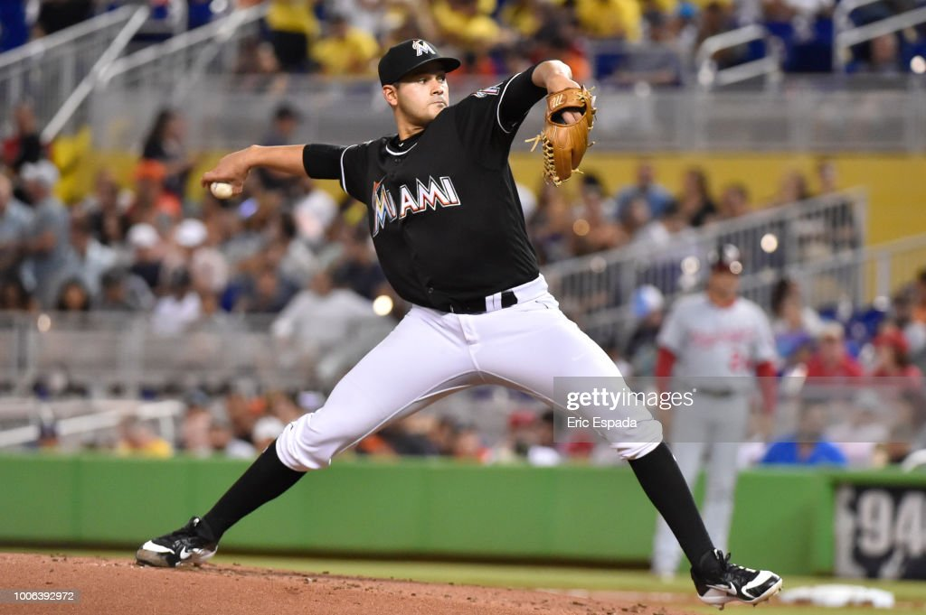 Pablo Lopez #49 of the Miami Marlins throws a pitch during the second inning of the game against the Washington Nationals at Marlins Park on July 27, 2018 in Miami, Florida.