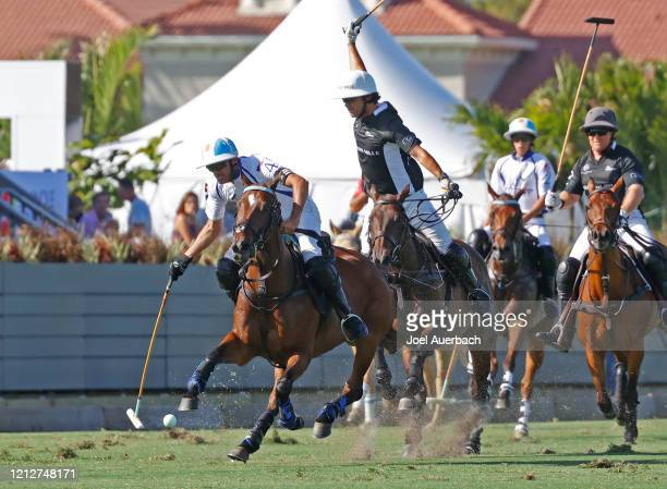 Pablo Mac Donough of Richard Mille attests to defend against Adolfo Cambiaso of Valiente during The Palm Beach Open on March 15 2020 at the Grand...