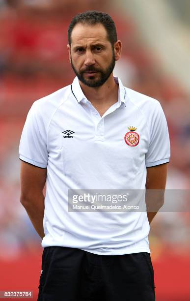 Pablo Machin Manager of Girona looks on prior to the preseason friendly match between Girona and Manchester City at Municipal de Montilivi Stadium on...