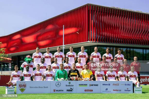 Head coach Tayfun Korkut of VfB Stuttgart poses during the team presentation at on July 19 2018 in Stuttgart Germany