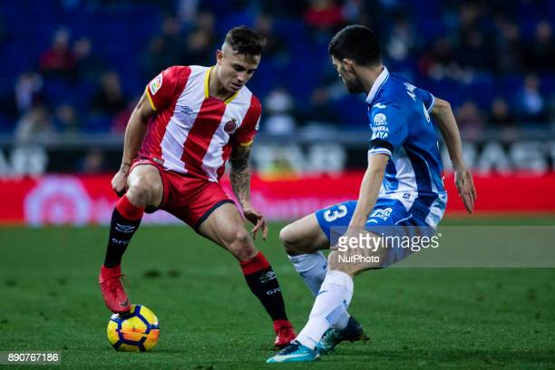 25 Pablo Maffeo from Spain of Girona FC against 03 Aaron from Spain of RCD Espanyol during the La Liga match between RCD Espanyol v Girona FC at RCD...
