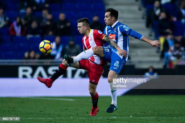 25 Pablo Maffeo from Spain of Girona FC against 10 Jurado from Spain of RCD Espanyol during the La Liga match between RCD Espanyol v Girona FC at RCD...